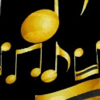 Large Music Notes Necktie Gold